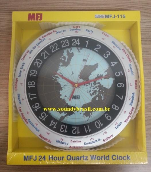 10317f4f303 MFJ-115 Relógio de parede com mapa Mundi - Clique para ampliar a foto