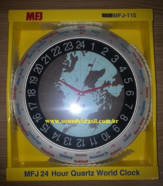 653ec2dd839 MFJ-115 Relógio de parede com mapa Mundi - Clique para ampliar a foto